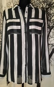 Black and White Striped Sheer Tunic
